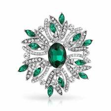 Bling Jewelry Holiday Christmas Brooch Pin Wreath Green Emerald Crystal
