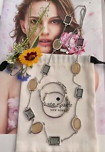 KATE SPADE OPAL SMOKE GREY HANCOCK PARK LONG NECKLACE & HOOP EARRINGS SET