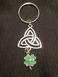 St Patrick's day keepsake keyring Irish knot Four leaf clover gift