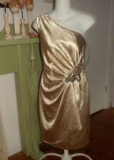 Adrianna Papell Designer Size 4 Beige Satin One shoulder Evening Cocktail Dress