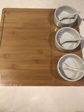 Chef Ventions Asia Series Bamboo Serving Tray with 3 Bowls and Spoons