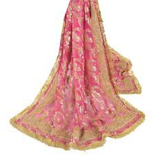 Sanskriti Vintage Pink Heavy Dupatta Pure Organza Silk Hand Embroidered Stole
