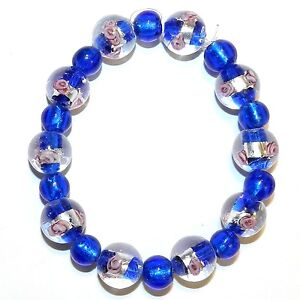 """G4257 Blue w Silver & Pink Flower 12mm & Blue 8mm Round Lampwork Glass Beads 7"""""""