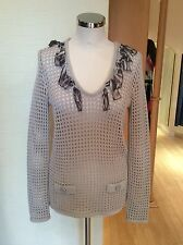 Faber Jumper Size 12 Bnwt Beige With Animal Print Trim Rrp £155 Now £38