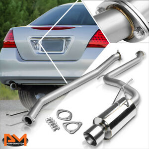 """For 03-07 Honda Accord EX/LX 4"""" Rolled Tip Muffler S.S Catback Exhaust System"""