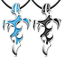 Unisex's Men  Silver Stainless Steel Cross Pendant Necklace Chain Blue/Black HS