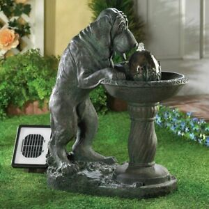 "Solar Garden Fountain with Pump, ""Thirsty Dog"" Lapping up Water, Bronze Finish"