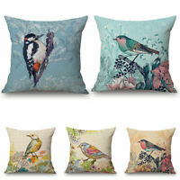 "18"" Art Bird Paint Cotton Linen Car Bed Sofa Pillow Case Waist Cushion Cover"