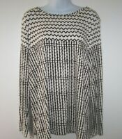 St John Black & White Print Long Sleeve Stretchy Tunic Top L Side Slits Flowy