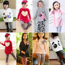 Toddler Kids Baby Girls Outfits Suit Clothes Long Sleeve T-shirt Tops Pants Set