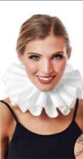 Ruffled Collar White Poly Elizabethan Style / Clown Pleated Neck Ruffle OS