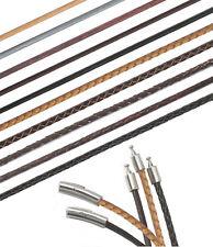 Lederkette Lederband Halskette mit Edelstahl Hebeldruckverschluss