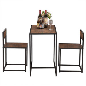 Industrial Three-Piece Elm Simple Wood Table Breakfast Chair Coffee Indoor Desk