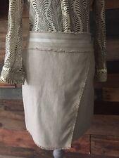 Ann Taylor Women's Sarong Skirt CAMEL Fringe Trim Solid Tan Wrap size 4 B98