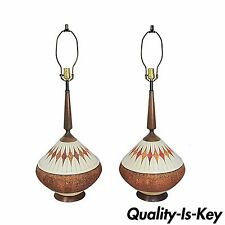 Vintage Pair Danish Modern Ceramic Orange Teak Wood Atomic Age Table Lamps