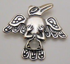 Tribal Raven Pendant .925 Sterling Silver w/ Moonstone Northwest Raven Crow