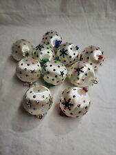 Vintage Lot 10 Christmas Ornaments Handmade Balls Beaded Push Pins Sequins 1-20