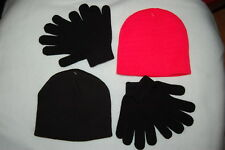 eb60c29aed85e Boys 2 SET LOT WINTER HAT   GLOVES Beanie ORANGE BLACK Stretch Knit ONE SIZE