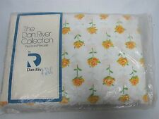 VINTAGE DAN RIVER NO IRON PERCALE KING FITTED BED SHEET with YELLOW ROSES MINT