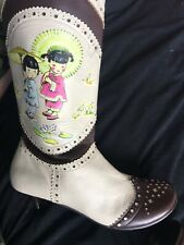 Irregular Choice Rare Vintage Brown & Cream Leather Boots Size 40