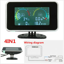 Car LCD 4in1 Gauge Water Temperature Meter /Oil Pressure/Fuel/Voltage Volt Gauge