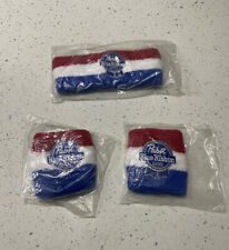 Pabst Blue Ribbon Beer HeadBand & Wristband Set Striped Red White & Blue - New