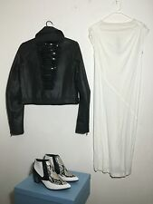 =EDGY= RICK OWENS $670 White Darts Draped Silk Jersey T Shirt Top Dress US4