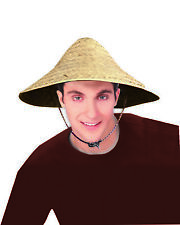 Straw Coolie Hat Chinese Costume Conical Rice Farmer Sun Japanese Asian Bell Cap