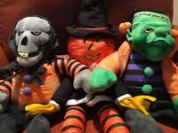 "HALLOWEEN 3  STUFFED SITTERS ""SKELETON,FRANKENSTEIN,GOBLIN"" LARGE 20'Inch"