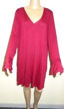 Evans Women's Flute Sleeve V-neck Top Red UK Size 26/28 Vr93 011