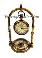 Antique Nautical Victorian London Brass Table Top Decor Clock with Compass