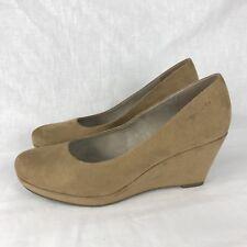 Ladies Tamaris Size 42 UK 8 Trend Wedge Heel Shoes Caramel Brown Suede Leather