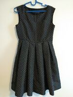 Zara basic Black White Polka Dots Spots Dress Size Small fit flare skater lined