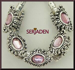 5 Pink Stone Spacers Marque Shaped European Style 11 * 15 mm & 5 mm Hole R017