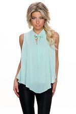 Damen Krepp Top Schluppentop Shirt Bluse High low Saum S 34 36 Party Club Büro