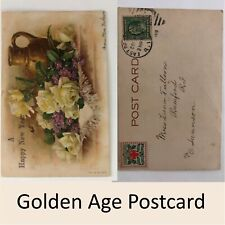 Happy New Year Postcard w/ American Red Cross Holiday Stamp 1 Cent Franklin 1909