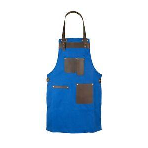 Royal Blue Canvas and Leather Apron Butcher Apron - BBQ Apron - Cooking Apron