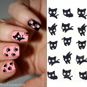 Nail Art Water Decals Transfers Decoration Black Scary Cats Gel Polish 1498
