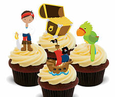 Pirate Party Edible Cup Cake Toppers, Boys / Kids Stand-up Birthday Decorations