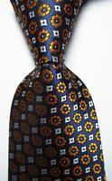 New Classic Checks Blue Gold White JACQUARD WOVEN 100% Silk Men's Tie Necktie