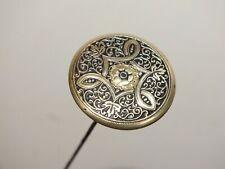 Ancienne épingle à chapeau 1900 en laiton damasquiné 30 cms !