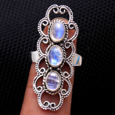 Moonstone Cab Gemstone 925 Sterling silver Jewelry Ring Size us 8.75