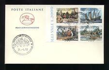 1992  ITALIA FDC CAVALLINO 24.4.1992 CELEBRAZIONI COLOMBIANE BLOCCO DA 4
