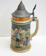 #5 Vintage German Porcelain Beer Stein With Pewter Lid 0.5L Hand Painted
