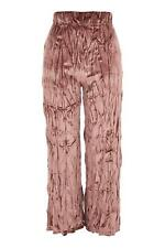 Topshop Dusky Pink Rose Crushed Velvet Pants Trousers Size 10