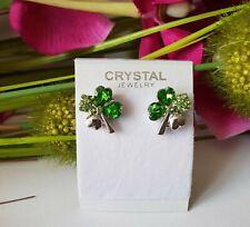 Schnäppchen Glücksbringer Ohrringe Zirkonia Kleeblatt Geschenk Smaragt Grün