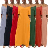 Summer Women Solid Loose Short Sleeve V-neck Casual Pocket Long Maxi Dress S-2XL