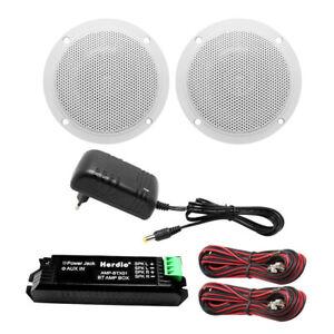 Bathroom/kitchen MINI Bluetooth amplifier + 4 inch Ceiling speakers(White)
