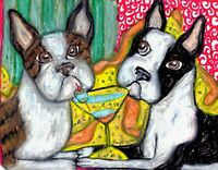 BOSTON TERRIER Drinking a Martini Dog Outsider Vintage Art 8 x 10 Signed Print