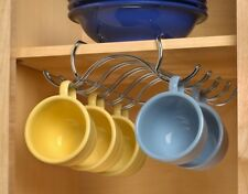 UNDER SHELF MOUNT CUP 10 MUG HOLDER, ORGANIZE KITCHEN CABINET CHROME -NEW